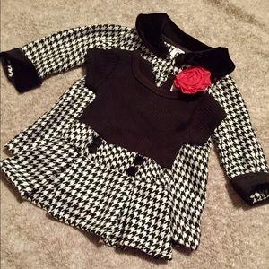 VGUC 6-12 m Black & White Houndstooth Dress & Coat
